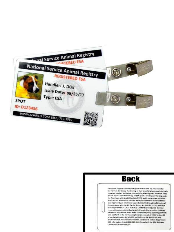 graphic relating to Printable Ada Service Dog Card referred to as Psychological Assist Animal Identification Playing cards with Registration