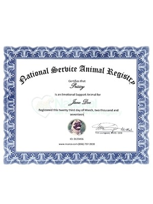replacement esa service dog certificates